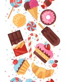 Seamless pattern colorful various candy, sweets Stock Photos
