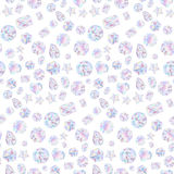 Seamless pattern of colorful vector jewels gemstones and crystals on white background.  Stock Photo