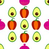 Seamless pattern with colorful vegetables. Sketch style vector set. Vegetables flat icons set: avocado, pepper, figs Royalty Free Stock Image