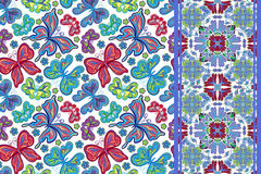 Seamless pattern with colorful vintage butterflies and flowers. Hand draw vector background Stock Photography