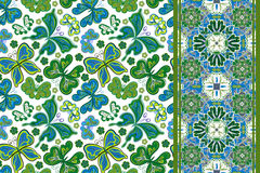 Seamless pattern with colorful vintage butterflies and flowers. Hand draw vector background Stock Photos