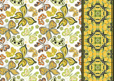 Seamless pattern with colorful vintage butterflies and flowers. Hand draw vector background Royalty Free Stock Photo