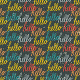Seamless pattern with colorful vintage Hello lettering Stock Image