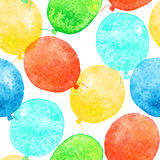 Seamless pattern with colorful watercolor balloons Royalty Free Stock Photos
