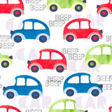 Seamless pattern with colorful watercolor cars. Stock Photos