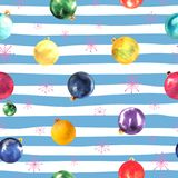Seamless pattern of colorful watercolor Christmas balls and snowflakes on blue background. Seamless pattern of colorful watercolor Christmas balls and royalty free illustration