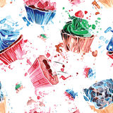 Seamless pattern of colorful watercolor cupcakes on a white back. Ground Stock Photo