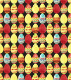 Seamless pattern with colorful watercolor Easter Eggs on black background Stock Image