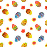 Seamless pattern with colorful watercolor Easter eggs and flowers on white background Stock Photos