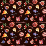 Seamless pattern. Colorful watercolor fruit. Set of fig, pomegranate, cranberry, blueberry, pear Stock Photography