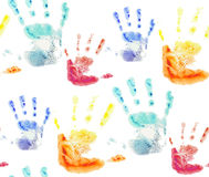 Seamless pattern with colorful watercolor prints of children's hands. For your creativity Stock Images
