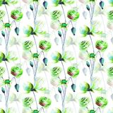 Seamless pattern with Colorful wild flowers. Watercolor illustration Stock Photo