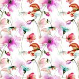 Seamless pattern with Colorful wild flowers. Watercolor illustration Stock Image