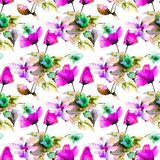 Seamless pattern with Colorful wild flowers. Watercolor illustration Stock Photos