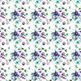 Seamless pattern with Colorful wild flowers. Watercolor illustration Royalty Free Stock Photo