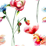 Seamless pattern with colorful wild flowers Stock Photos