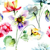 Seamless pattern with colorful wild flowers Royalty Free Stock Photos