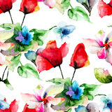 Seamless pattern with Colorful wild flowers Royalty Free Stock Images