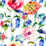 Seamless pattern with Colorful wild flowers Royalty Free Stock Photo