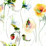 Seamless pattern with Colorful wild flowers Stock Photo