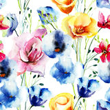 Seamless pattern with Colorful wild flowers Stock Photography