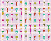 Seamless pattern colorful wine glasses. Vector background with colorful wine glasses vector illustration