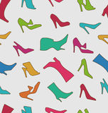 Seamless Pattern with Colorful Women Footwear Royalty Free Stock Images