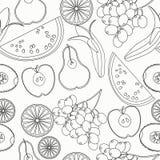 Seamless pattern coloring fruit watermelon, orange, kiwi, grapes Royalty Free Stock Image