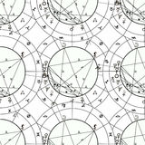 Seamless pattern coloring natal astrological chart, zodiac signs Royalty Free Stock Photo