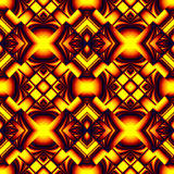 Seamless pattern in colors of fire. Fiery red seamless pattern stylized molten metal in the form of different elements stacked rhombus with refraction and Royalty Free Illustration