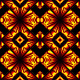 Seamless pattern in colors of fire. Stylized seamless pattern with arrows, crosses and lozenges in the colors of the fire reflected from the surface vector illustration