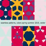 Seamless pattern with the colors of spring summer 2019, in vector. Royalty Free Stock Photos