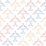 Seamless pattern with colour contours of passenger aircraft Stock Photos