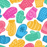 Seamless pattern with colour mittens Royalty Free Stock Photo