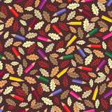 Seamless pattern with colour pencils and autumn leaves Stock Photo