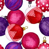 Seamless pattern of coloured Christmas balls. Holiday ornaments for the happy new year. Watercolour illustration of hand painted. Design element of fabric royalty free illustration