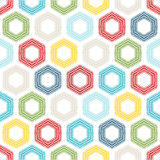 Seamless pattern of coloured hexagons. Royalty Free Stock Photos