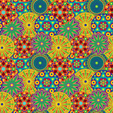 Seamless pattern with colourful geometric flowers Stock Image