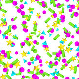 Seamless pattern with colourful sparlking confetti. Bright abstract holiday background Royalty Free Stock Photography