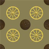 Seamless pattern combining a golden wooden wheel and a brown copper clock s royalty free illustration