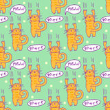 Seamless pattern with comic cartoon cat. Scratching kitten with speech bubbles. Simply editable vector texture for fabric, cover, Stock Images