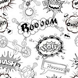 Seamless pattern comic speech bubbles sound effects, cloud explosion  Royalty Free Stock Photo