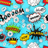 Seamless pattern comic speech bubbles vector Stock Images