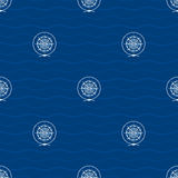 Seamless Pattern with Compass Rose Stock Images