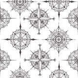 Seamless pattern with compasses drawn with floral elements. Seamless pattern with graphic wind rose compasses drawn with floral elements. Vector illustration can stock illustration