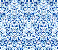 Seamless pattern composed of color abstract elements in blue located on white background Stock Photography