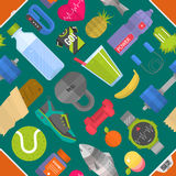 Seamless pattern composed from icons representing healthy lifestyle sport background vector illustration vector illustration