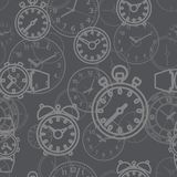 Seamless pattern composed of images hours. Stock Image