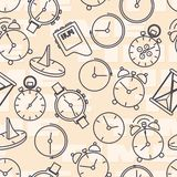 Seamless pattern composed of images hours. royalty free stock image