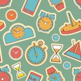 Seamless pattern composed of images hours. stock photo